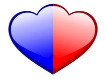 Two hearts. Couple aqua style heart shape Stock Image