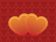 Two hearts. Hearts ornament ready to use like a invitation or Valentines card Royalty Free Stock Images
