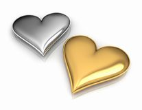 Two Hearts. On reflective white floor, gold and silver, 3d render Stock Photo