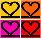 Two hearts. Hearts formed by two numbers 2, symbol for love Royalty Free Stock Images