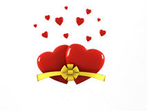 Two hearts. Bow damages caused Royalty Free Stock Photography