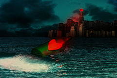 Two hearts. 3D graphics combined with digital painting. Night scene Stock Images