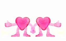 Two Hearts. Two 3d pink hearts, holding hands, isolated against a white background Stock Photos