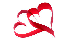 Two hearts. Two red hearts on white background stock photos