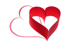 Two hearts. Two red hearts on white background royalty free stock images