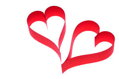 Two hearts. Two red hearts on white background royalty free stock image