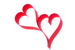 Two hearts. Two red hearts on white background royalty free stock photo