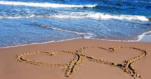 Two hearts. In a sand Royalty Free Stock Images