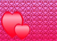 Two_hearts. Two hearts on a red-pink figured background Royalty Free Stock Photos