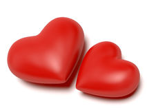 Two hearts. A computer generated image of two red hearts over a white background royalty free illustration