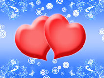 Two hearts. Together on a dark blue background with colors Stock Photos