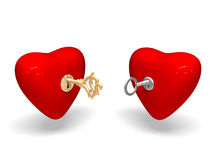 Two hearts. Two hearts on white background Royalty Free Stock Images