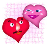 Two hearts. In the manner of men and womn Royalty Free Illustration