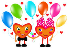 Two hearts with air ball Royalty Free Stock Image
