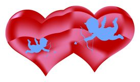 Two hearts and angels with an arrow, decorations for Valentine`s Day, on a white background vector illustration