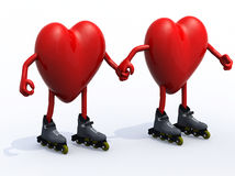 Two hearts with arms, legs and rollerskates Royalty Free Stock Photography