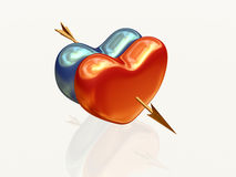 Two hearts with arrow 2. Two 3d hearts, red and blue golden, pierced together by arrow Stock Images