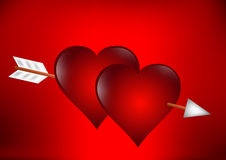 Two hearts with arrow Stock Photos