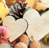 Two hearts in an autumn background Royalty Free Stock Photography