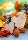 Two hearts in an autumn background Stock Image