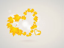 Two hearts of autumn leaves Royalty Free Stock Images