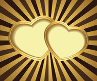 Two hearts on background with rays Stock Image
