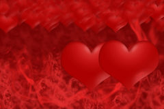 Two hearts on a background of red smoke Royalty Free Stock Images