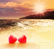 Two hearts on the beach Stock Image