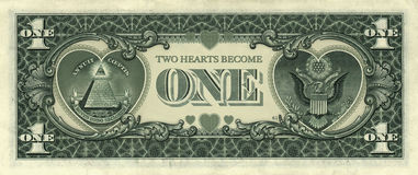 Dollar Hearts. Two Hearts Become One  Photo-Illustration of a dollar bill retouched to include two hearts Royalty Free Stock Photo
