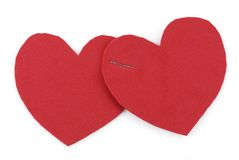 Two hearts binded together Stock Photos