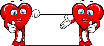 Two hearts with blank sign. Illustration of two hearts with blank sign Stock Images