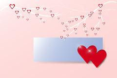 Two hearts and blue rectangle on trendy pink background. Two full shining red hearts are on the blank blue rectangle ready for your text. Many small hearts are Royalty Free Stock Photography