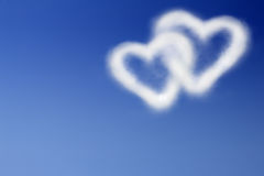 Two hearts in the blue sky stock illustration