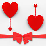 Two Hearts With Bow Mean Loving Celebration Or Stock Photos