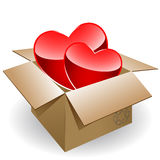 Two hearts in box Stock Photo
