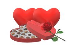Two hearts, a box of chocolates and a single red rose royalty free stock photography