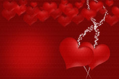 Two hearts with bright spot for inscription Royalty Free Stock Image