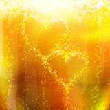 Two hearts of the bubbles in a glass of champagne Royalty Free Stock Images