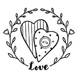 Two hearts with a button and a floral wreath in hand drawing sty Stock Photos