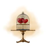 Two hearts in a cage Royalty Free Stock Photography