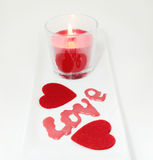 Two hearts and candle love Valentine's Day Royalty Free Stock Photo
