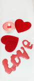 Two hearts and candle love Valentine's Day Stock Photo