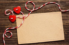 Two hearts and a card Stock Images