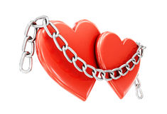 Two hearts and a chain isolated on white background. 3d illustra Royalty Free Stock Image