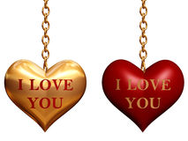 Two hearts with chains Royalty Free Stock Images