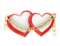 Two hearts in chains on a white background. 3d rendering Royalty Free Stock Photo