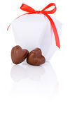Two hearts chocolate and White gift box Isolated Royalty Free Stock Photos