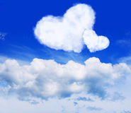 Two hearts. Cloud. Sky. Royalty Free Stock Photography
