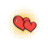 Two hearts comics icon Royalty Free Stock Images