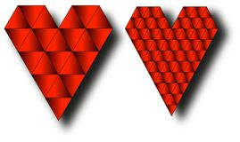 Two hearts. Consists of small triangles Royalty Free Stock Photography